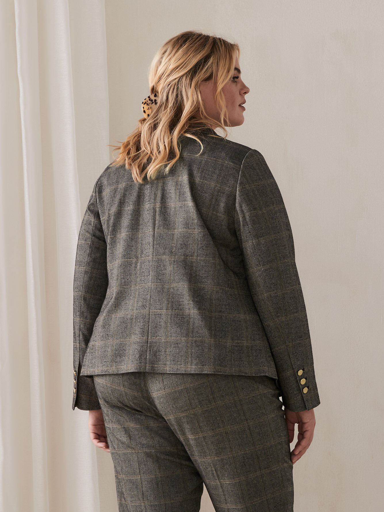 Plaid Double-Breasted Blazer - Addition Elle