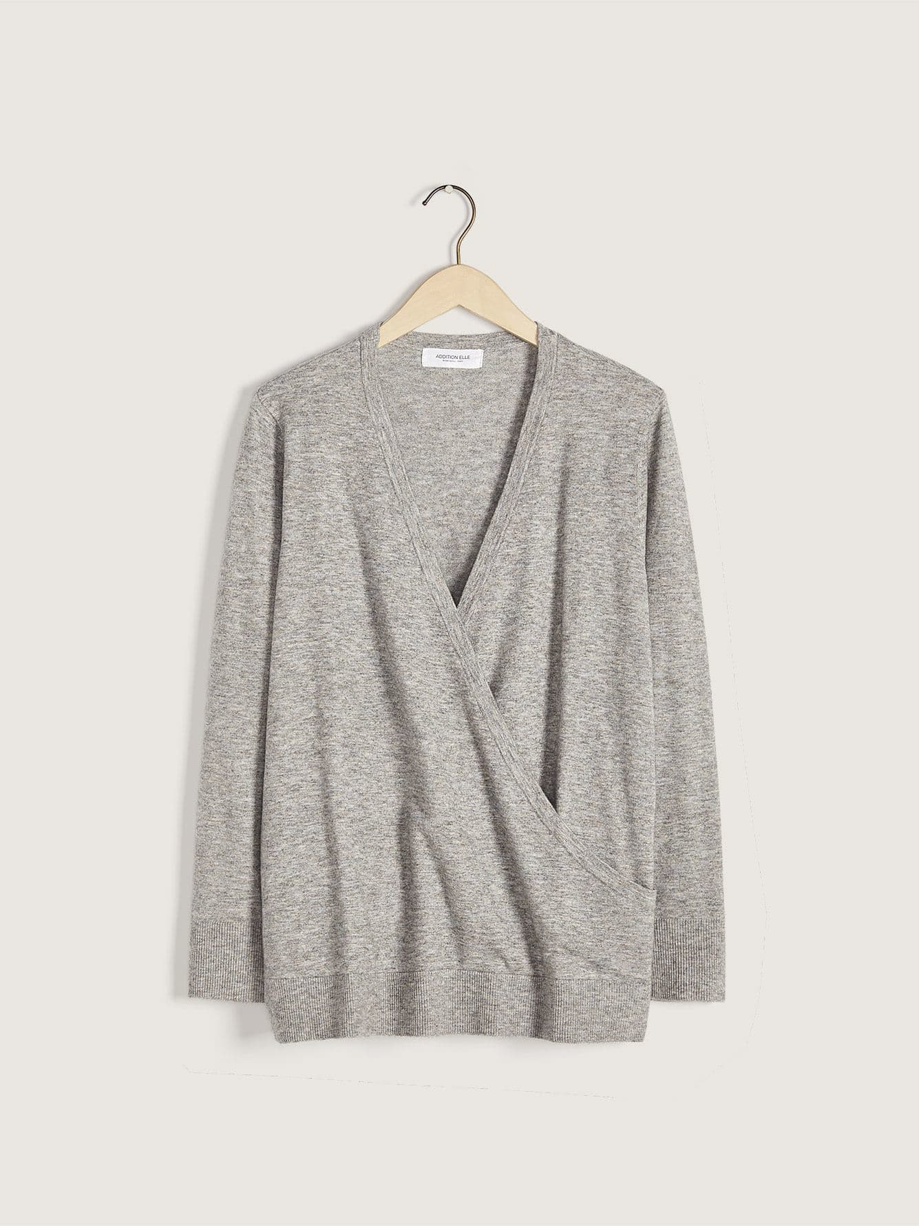 Long Sleeve Faux-Wrap Sweater - Addition Elle