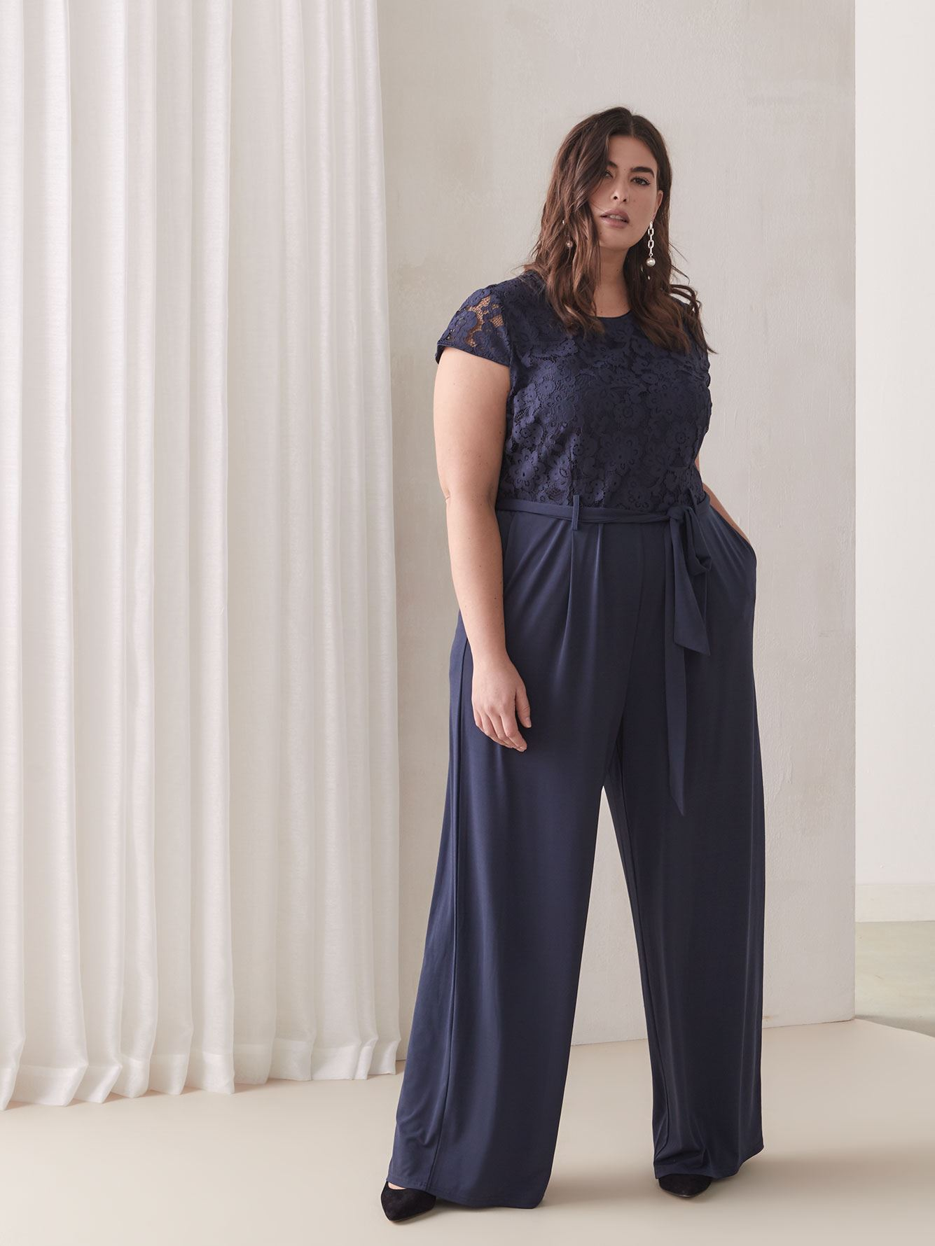 Wide-Leg Short-Sleeve Jumpsuit - Addition Elle