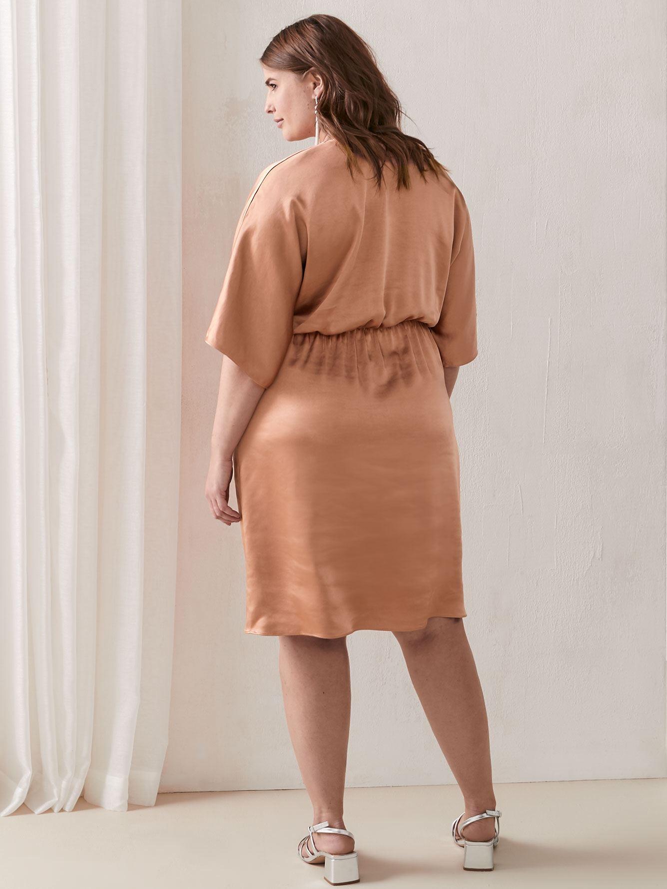 Solid Dolman Sleeve Faux Wrap Dress - Addition Elle