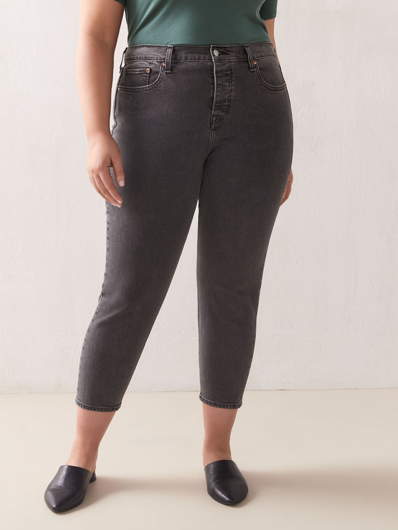Stretchy High-Rise Wedgie Black Jean - Levi's Premium