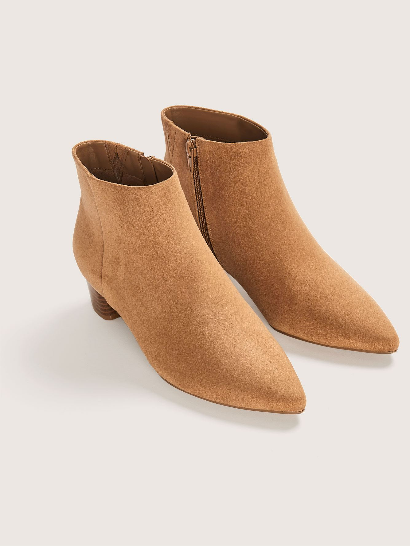 Wide Width Microsuede Pointy Toe Booties - Addition Elle