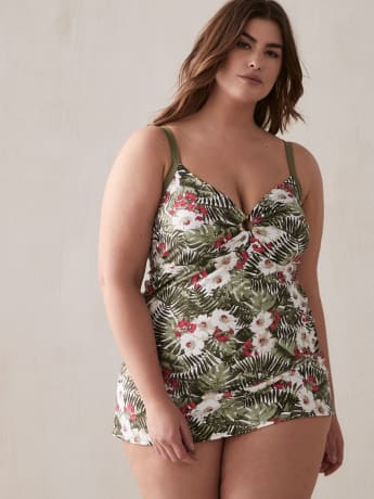 Printed Swimdress with Front Metal Ring