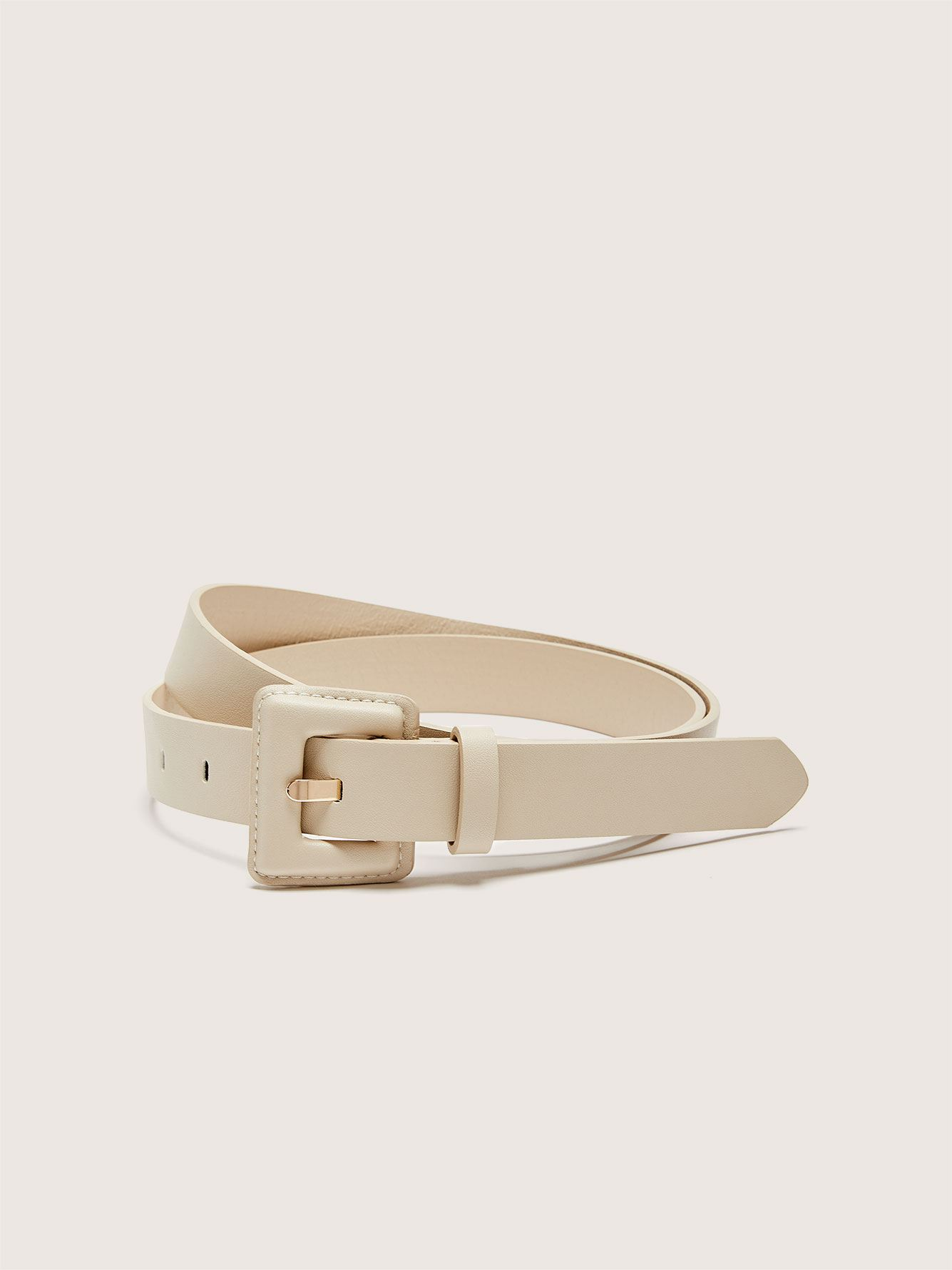 Faux-Leather Belt with Square Buckle - Addition Elle
