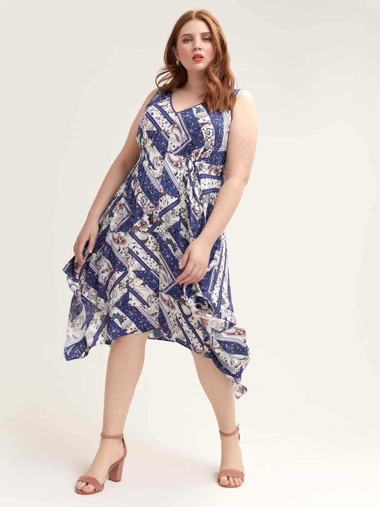 Scarf Print Hanky Hem Dress