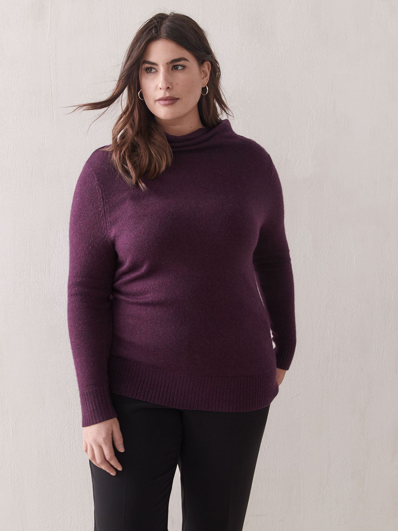 Cashmere-Blend Cowl-Neck Sweater - Addition Elle