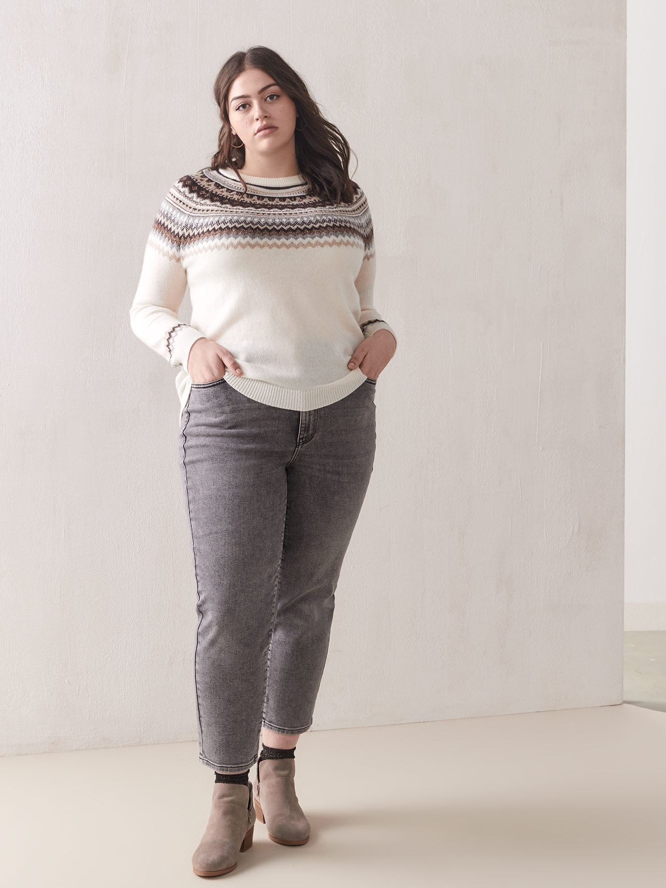 Fair Isle Raglan-Sleeve Sweater - Addition Elle