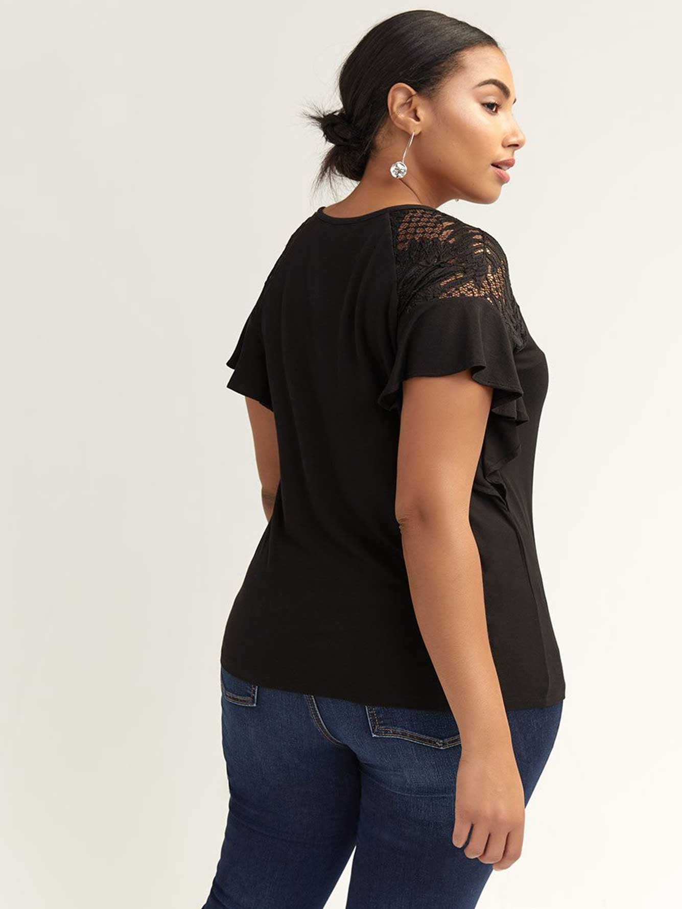 Crew-Neck Top with Lace and Flutter Sleeves - L&L