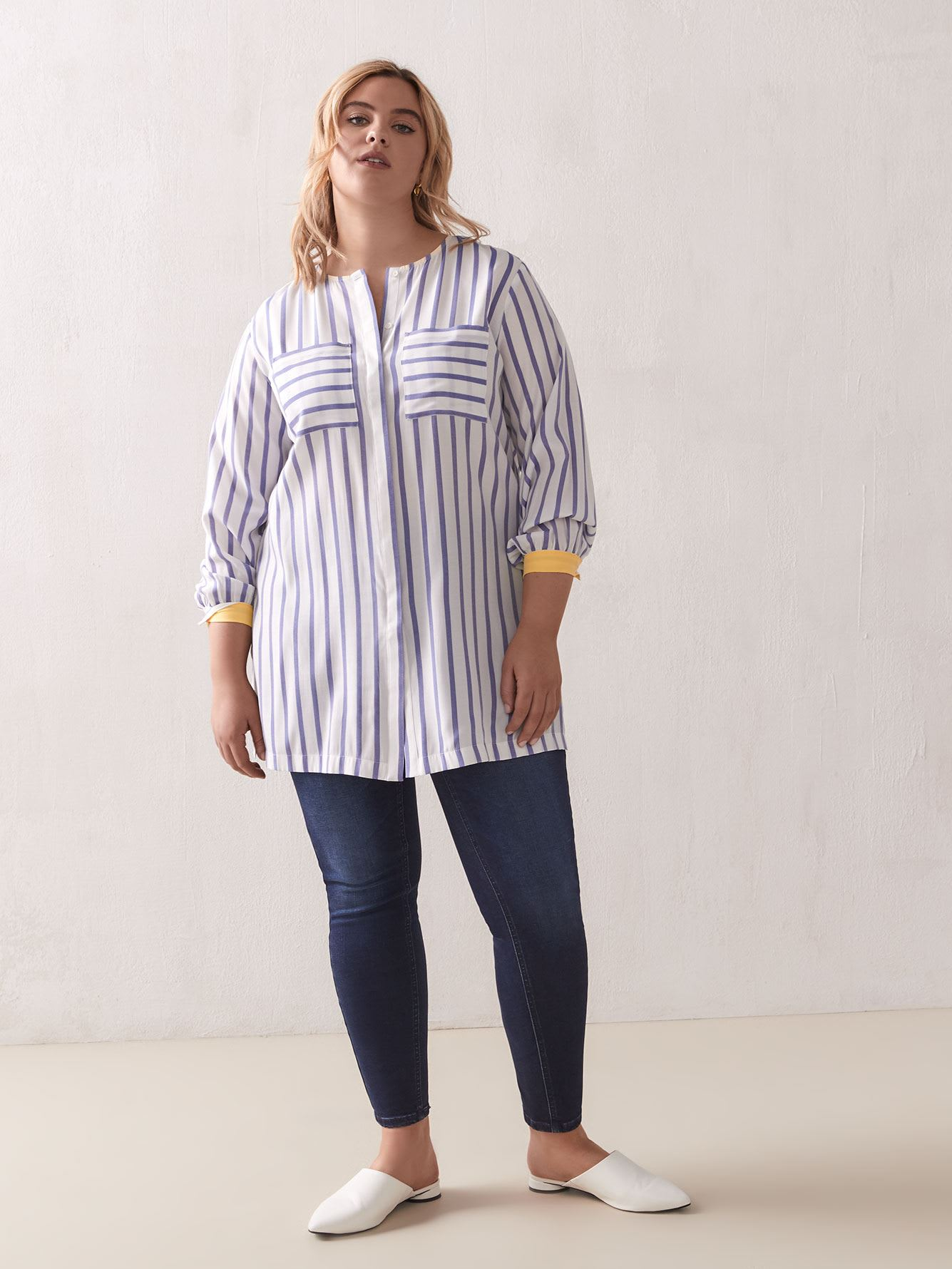 Striped Long-Sleeve Tunic Blouse - Addition Elle