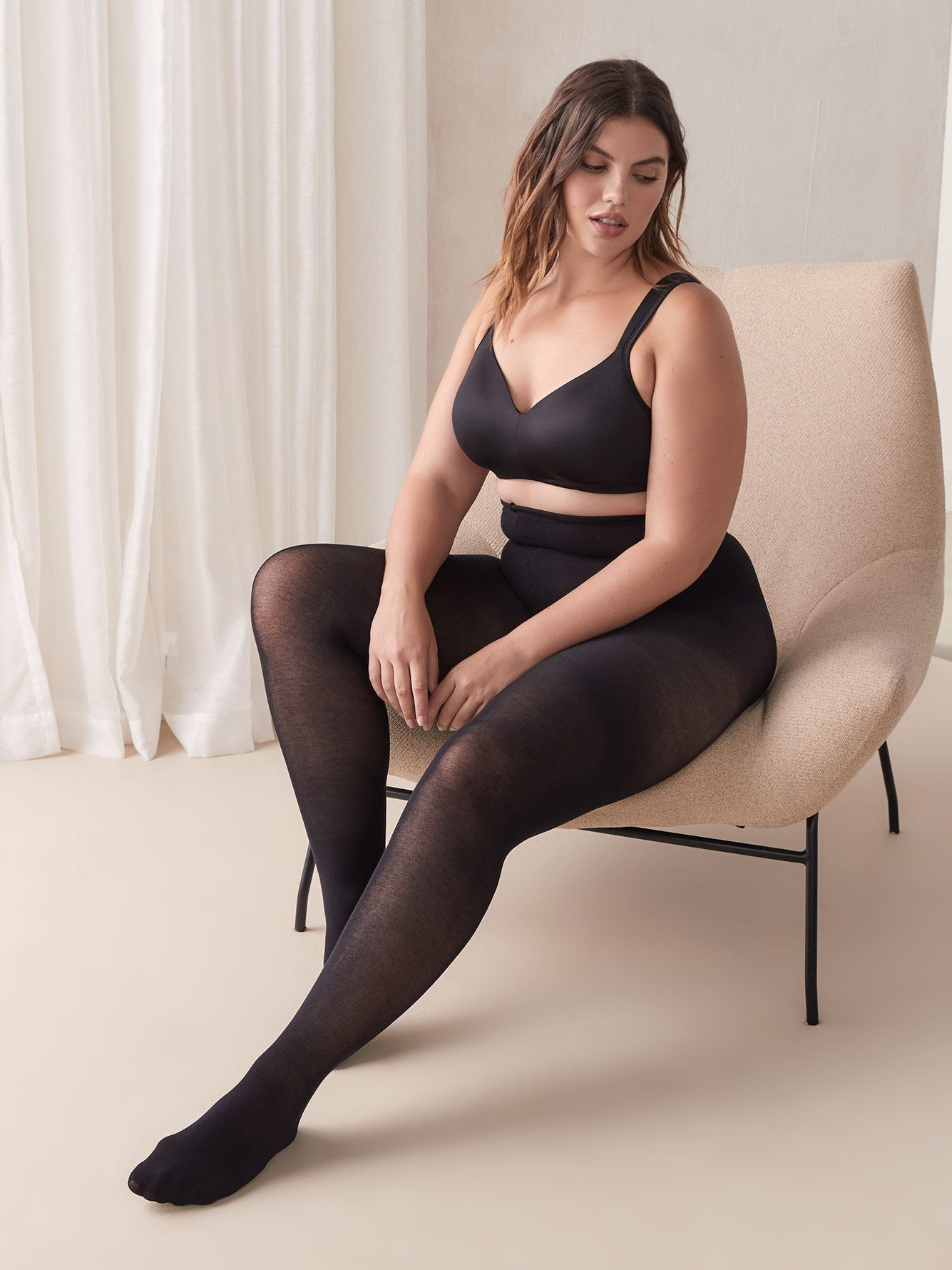 Basic Cotton Tights with Sewn-In Panel - Mondor