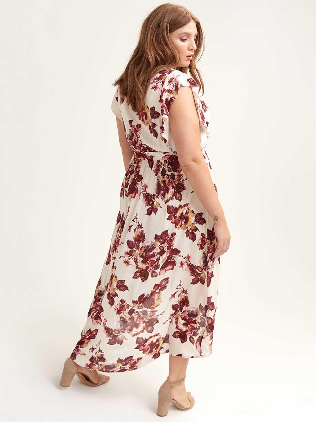 Floral Wrap-Front Dress - City Chic