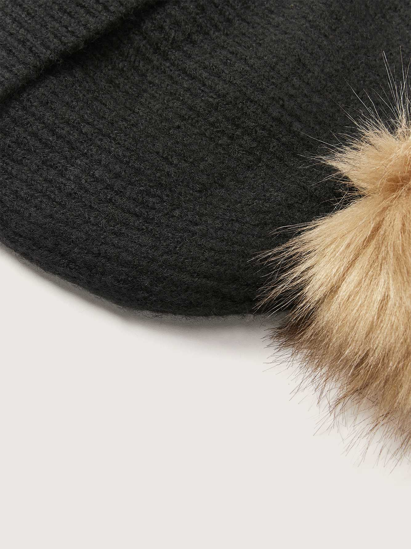 Beanie with Faux Fur Pompom - Addition Elle