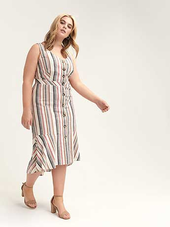 Fit & Flared Striped Dress with Button Details - L&L