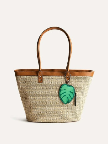 Straw Tote Handbag with Leaf Tag - Addition Elle