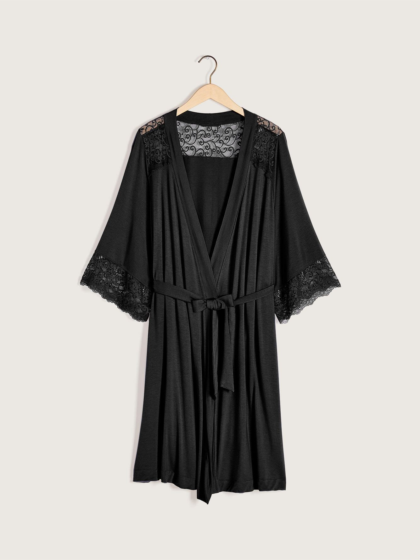 Solid Elbow Sleeve Lounge Robe with Lace