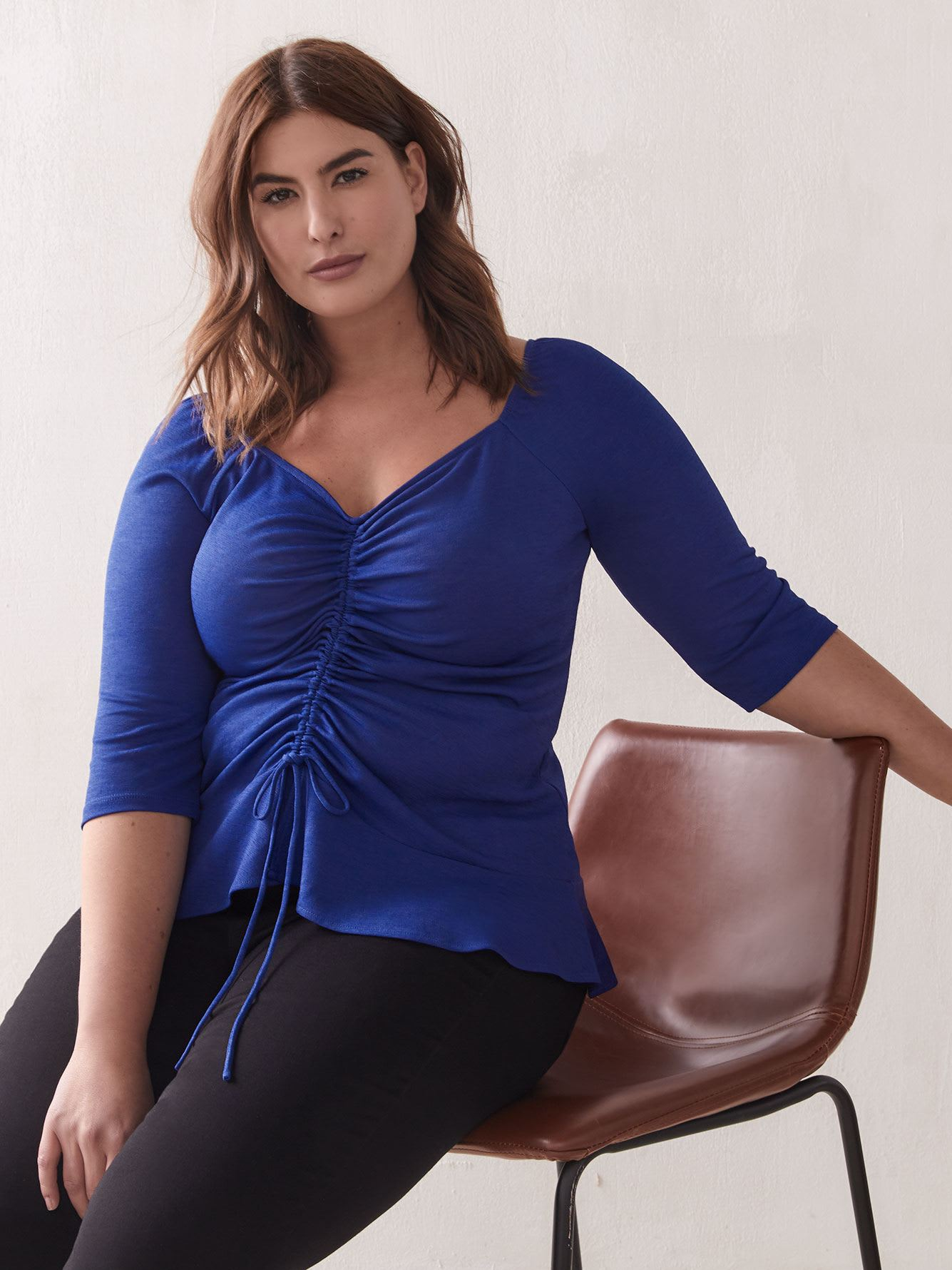Ruched 3/4 Sleeve Top - Addition Elle