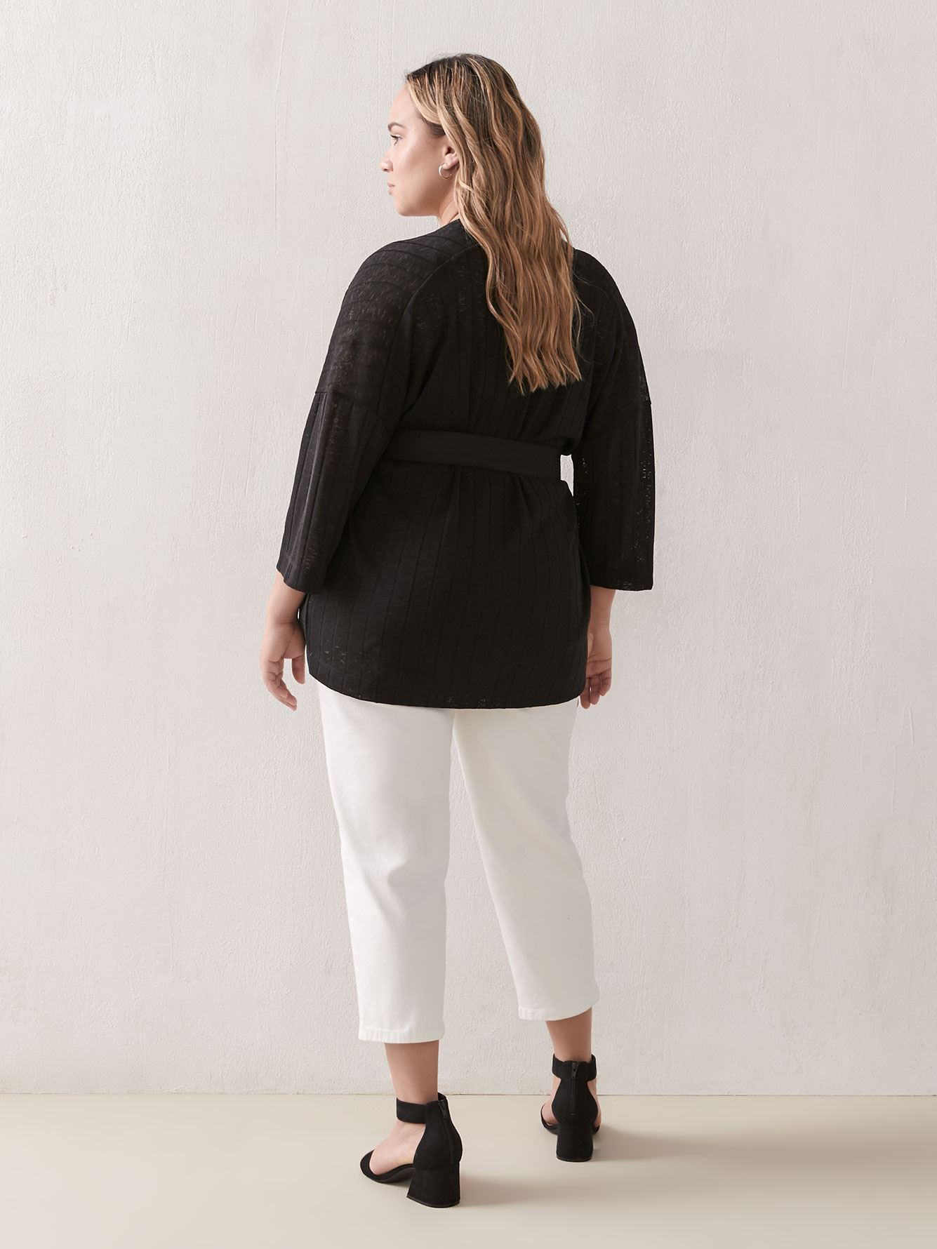 Wide-Sleeve Belted Cardigan - Addition Elle