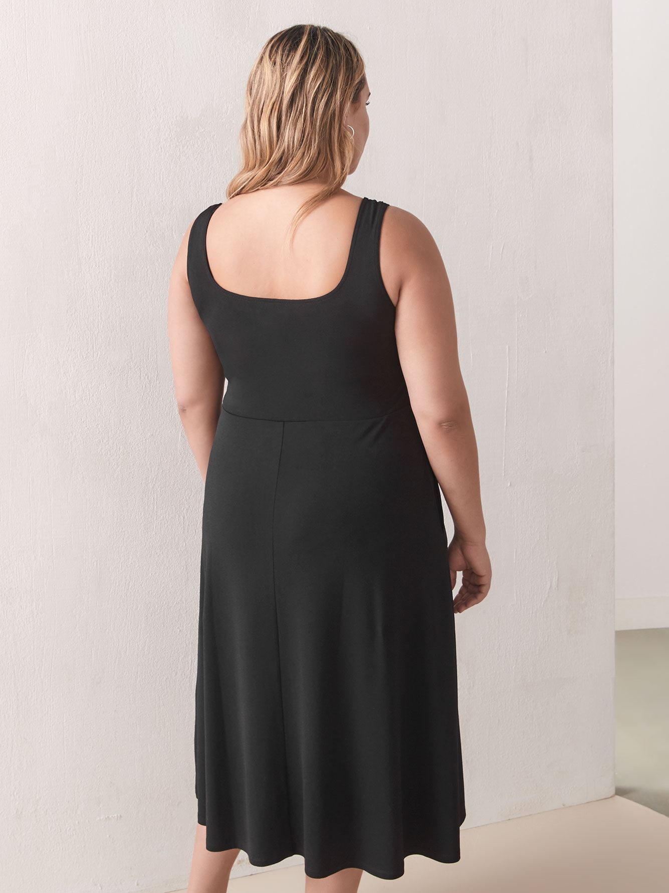 Square-Neck Fit and Flare Midi Dress - Addition Elle