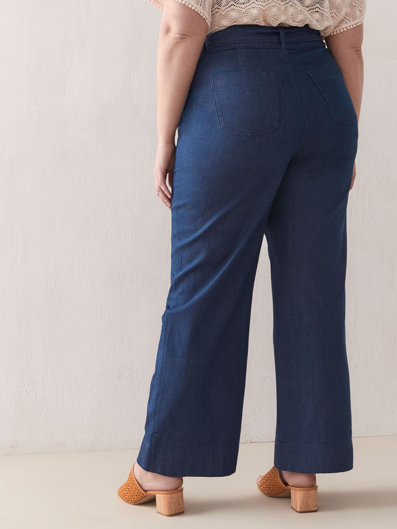 Belted Wide-Leg Denim Pant - Addition Elle