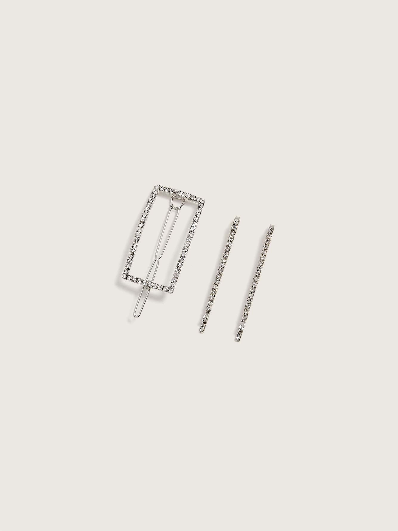 Rhinestone Barrette and Clips, 3-Pack - Addition Elle