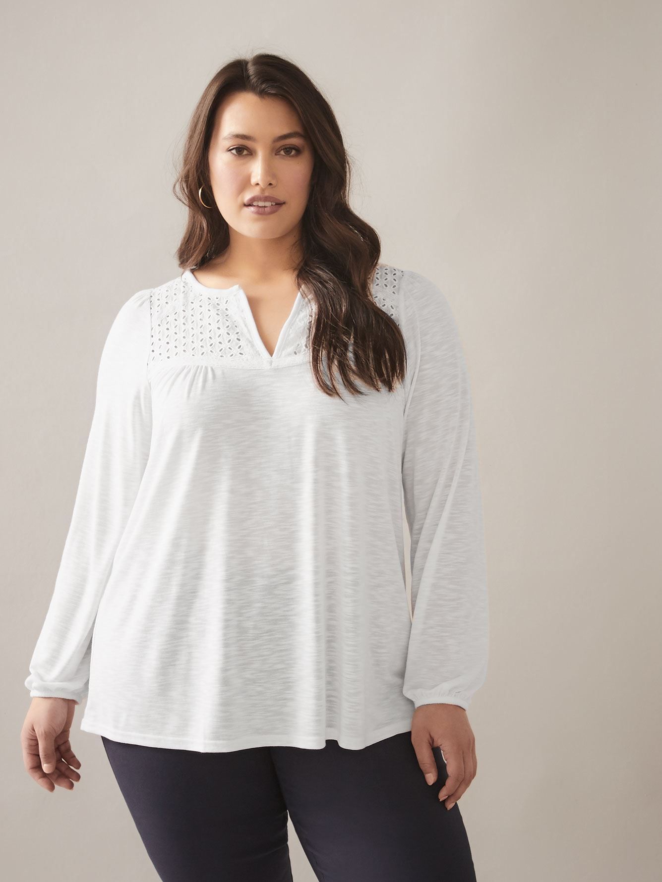 Solid Long Sleeve Top with Crochet Detail - In Every Story