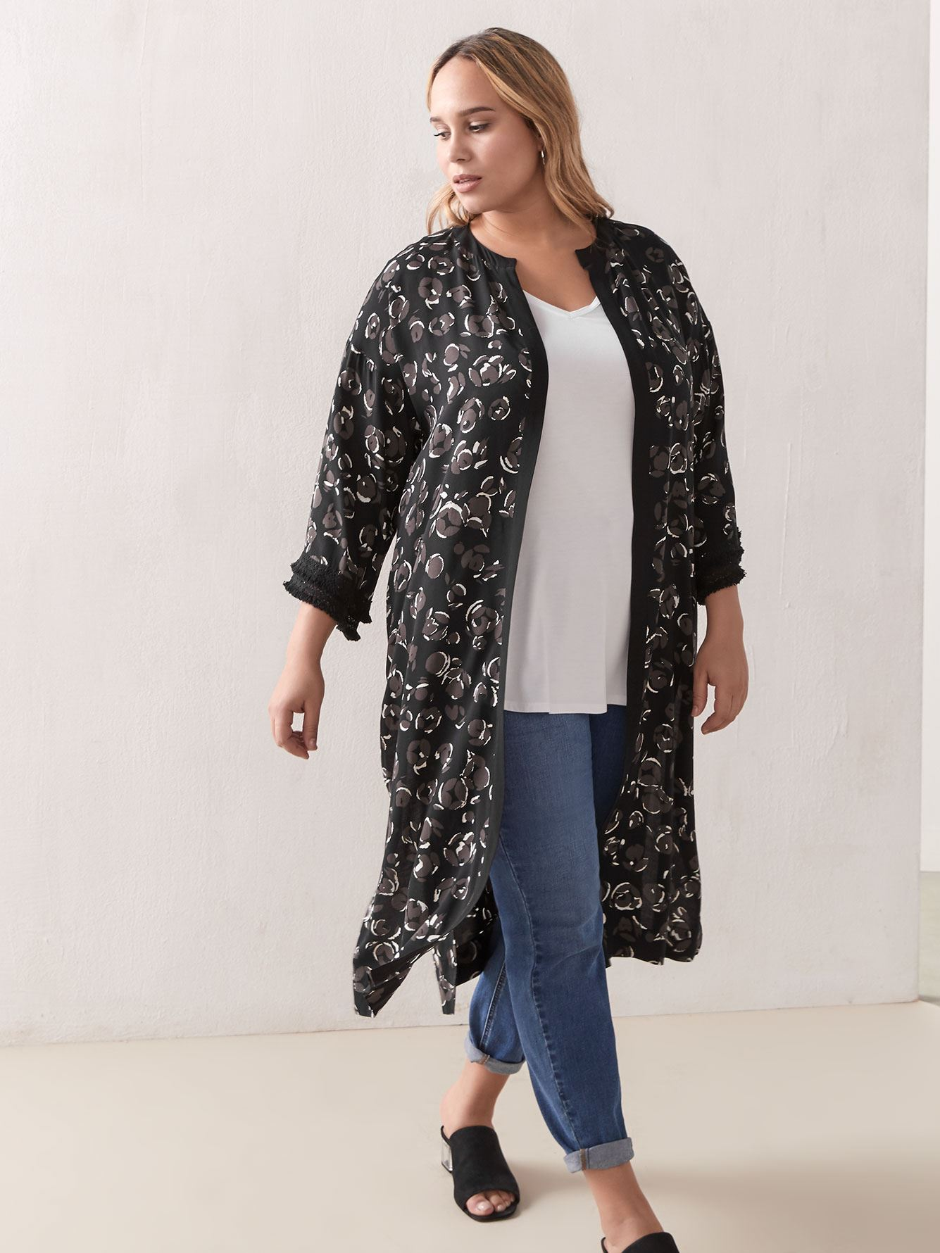 Long Printed Kimono Tunic Blouse - Addition Elle