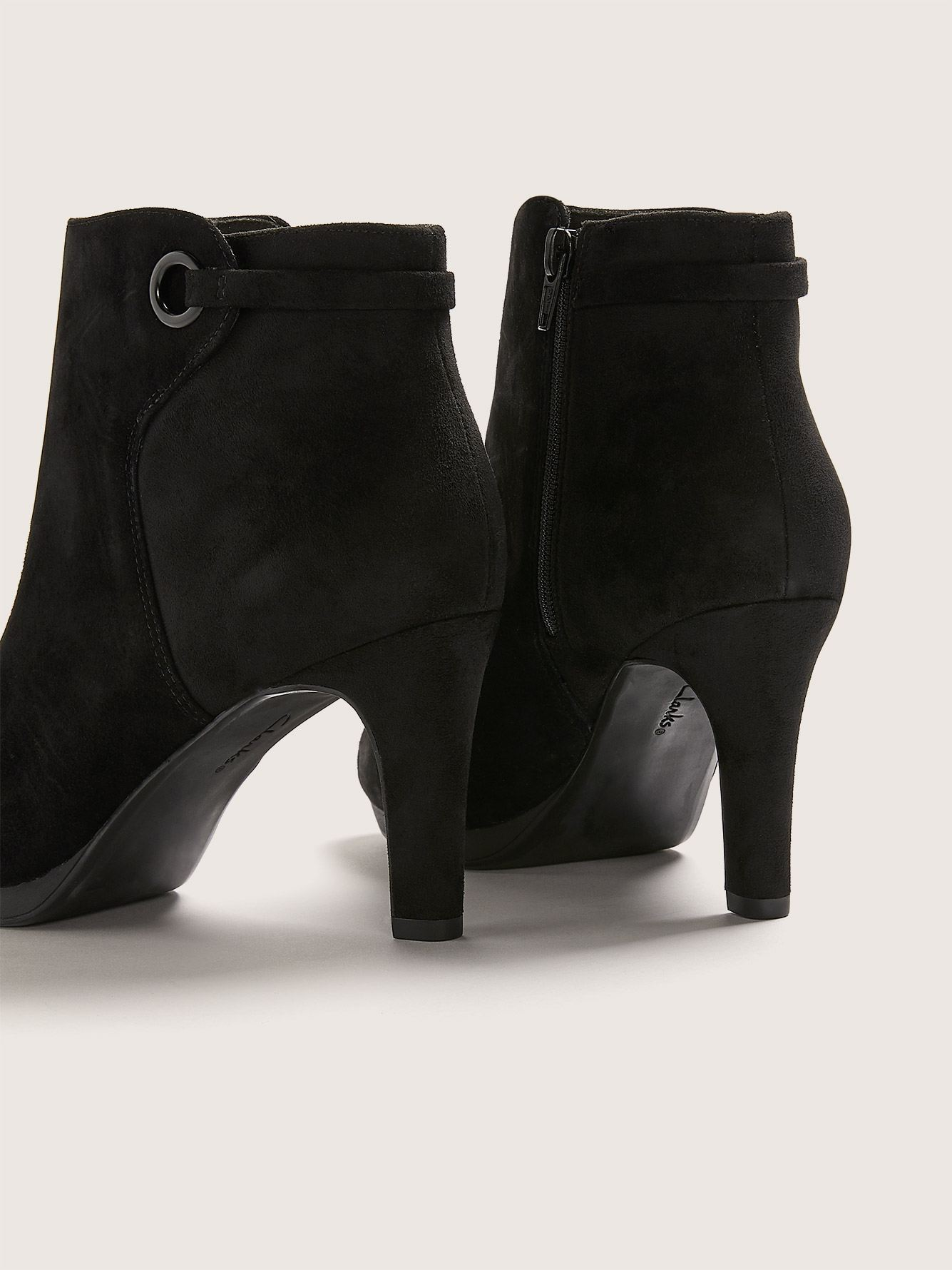 Clarks - Wide Suede Adriel Mae Booties with Ring