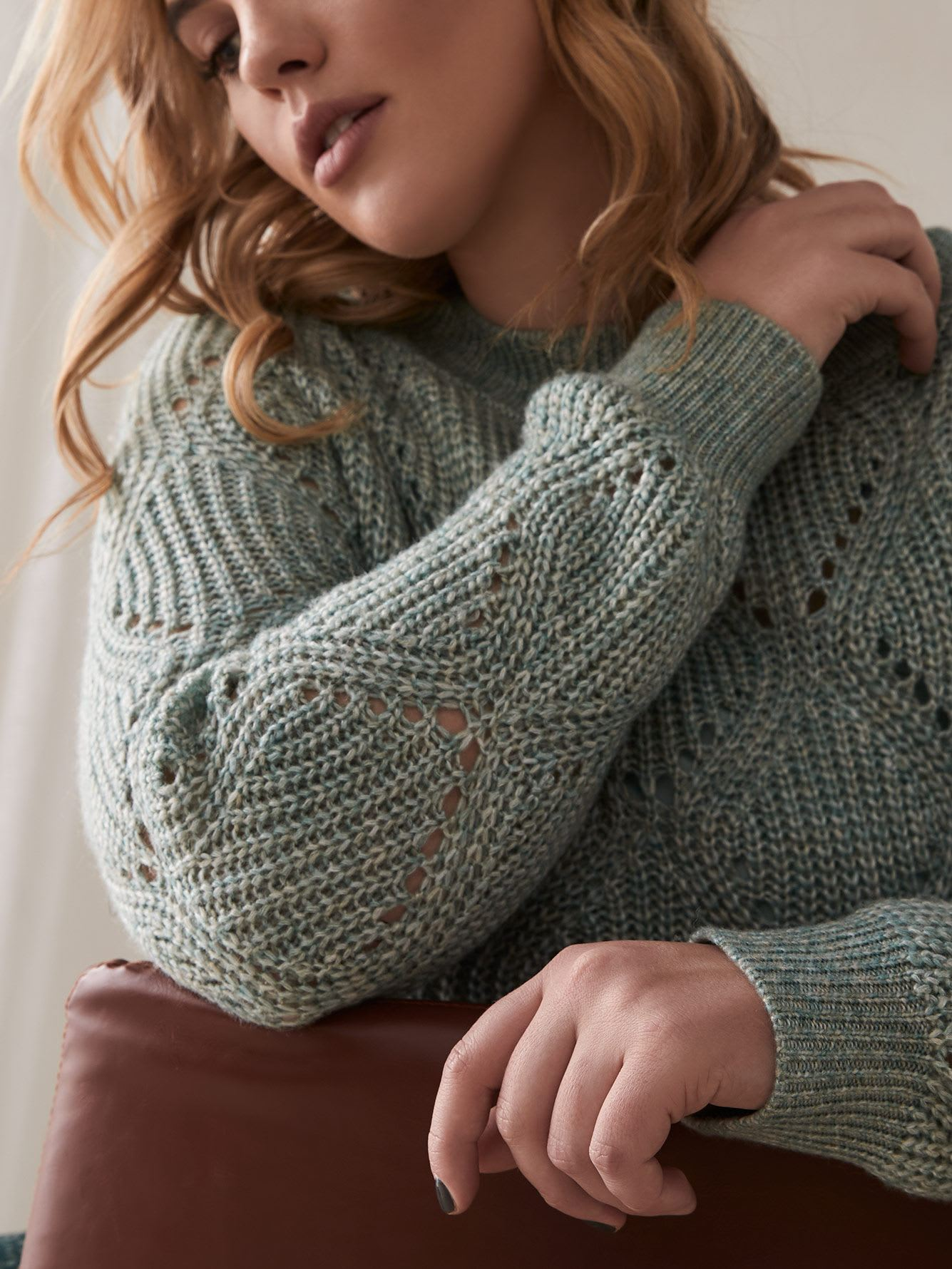 Pointelle-Knit Cocoon Sweater - Addition Elle