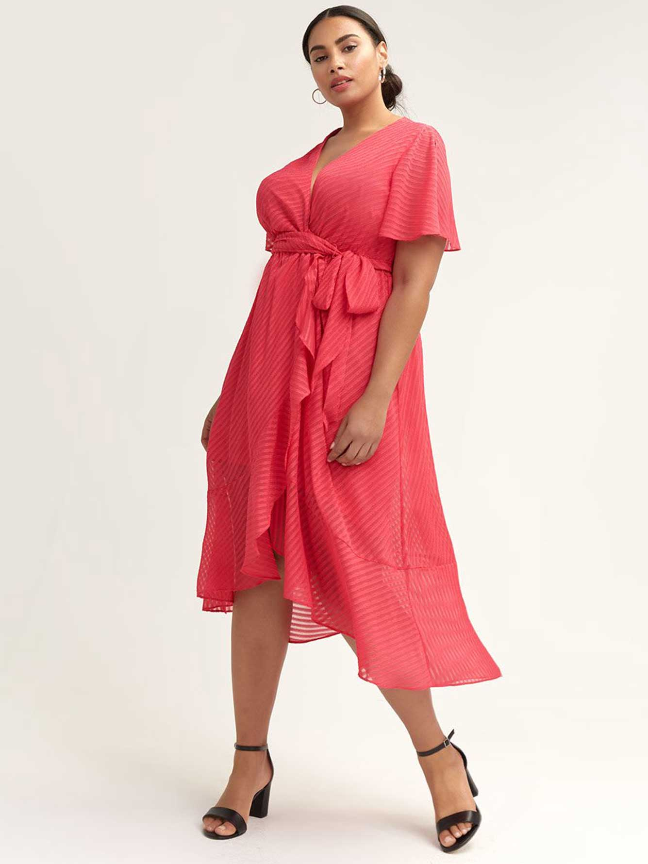 High-Low Faux-Wrap Dress with Flutter Sleeves