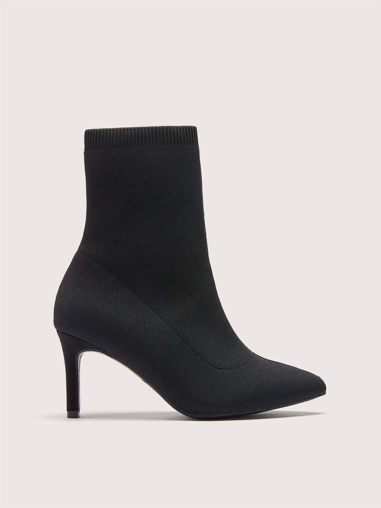 Wide Width Black Sock Boot - Addition Elle