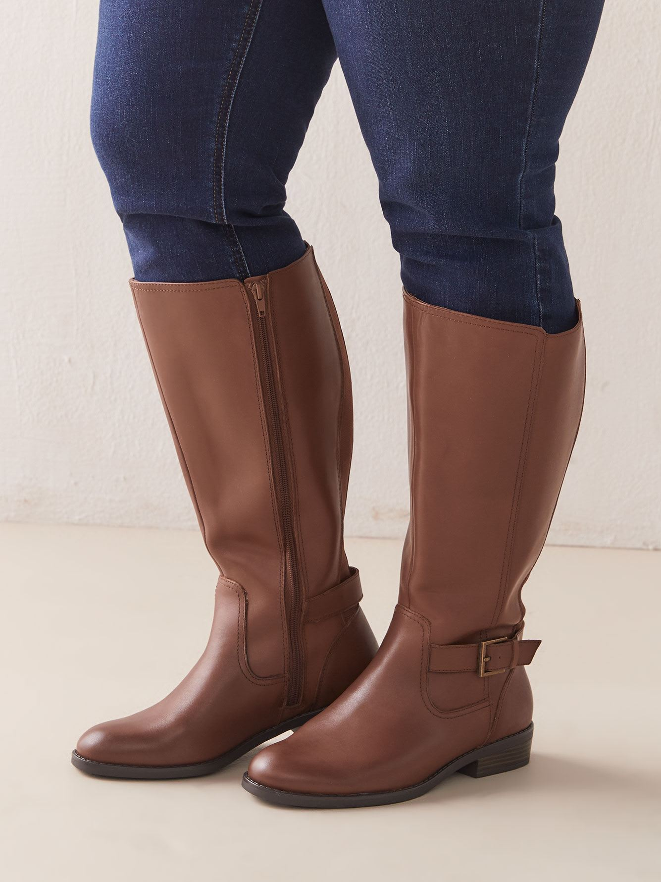 Wide Width Leather Tall Boot with Ankle Buckle - Addition Elle