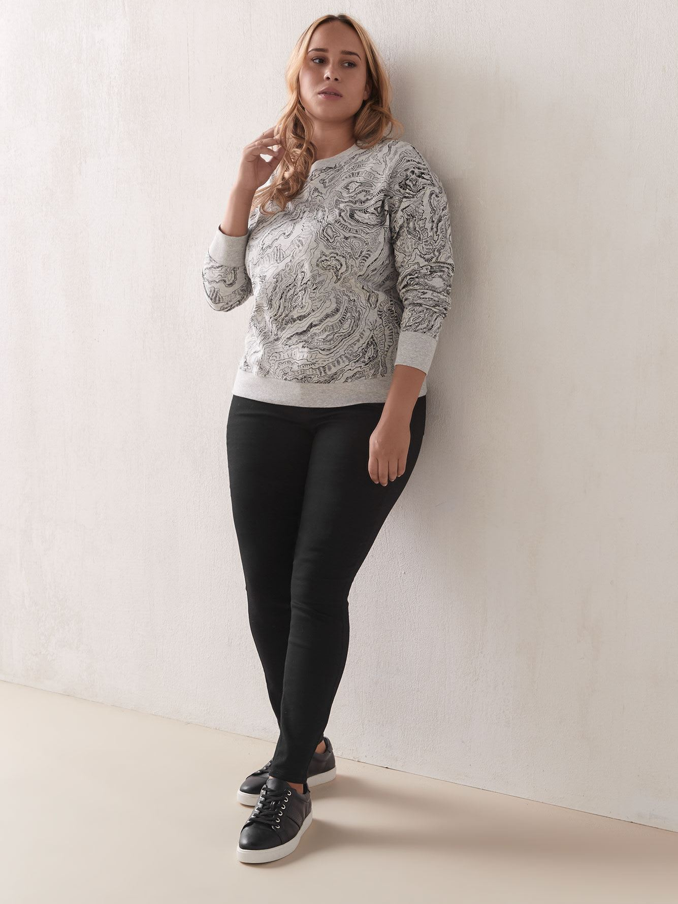 Printed French Terry Sweatshirt - Addition Elle