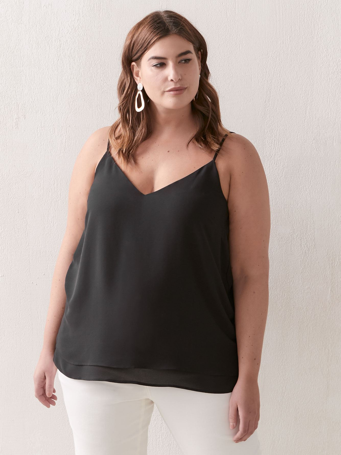 Silky Black Cami with Adjustable Straps - Addition Elle