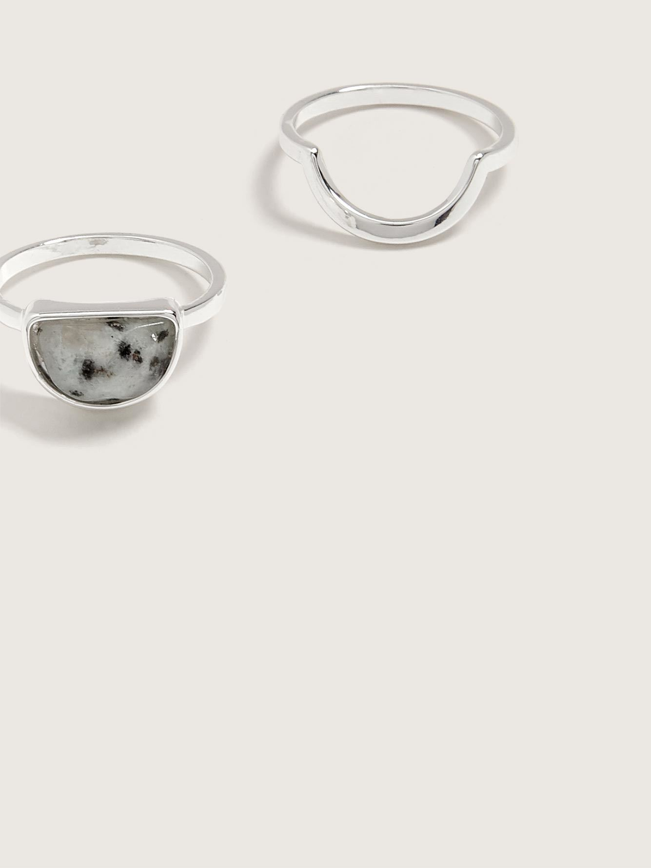Pack of 2 Rings with Semi-Precious Stone - Addition Elle