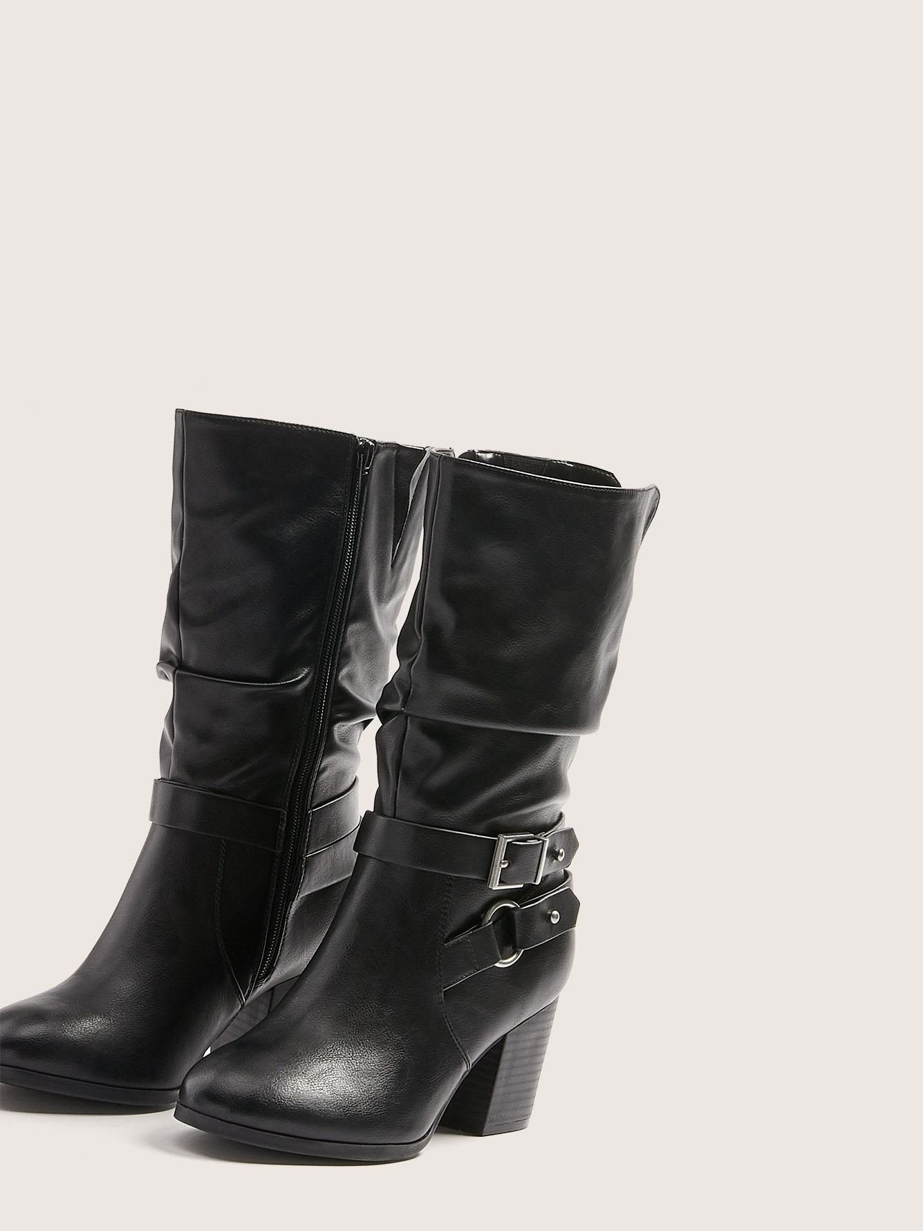 Wide Width Mid Calf Boot with Side Buckles - Addition Elle