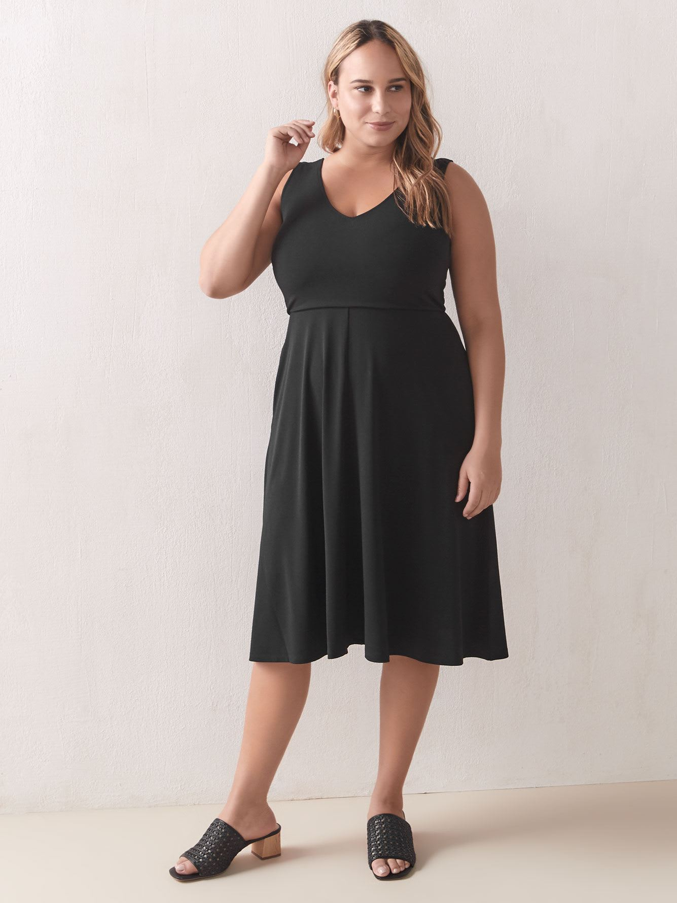 Sleeveless Fit & Flare Midi Dress - Addition Elle