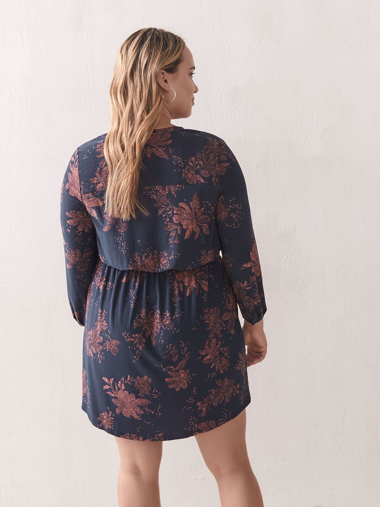 Long-Sleeve Floral Shirt Dress - Addition Elle