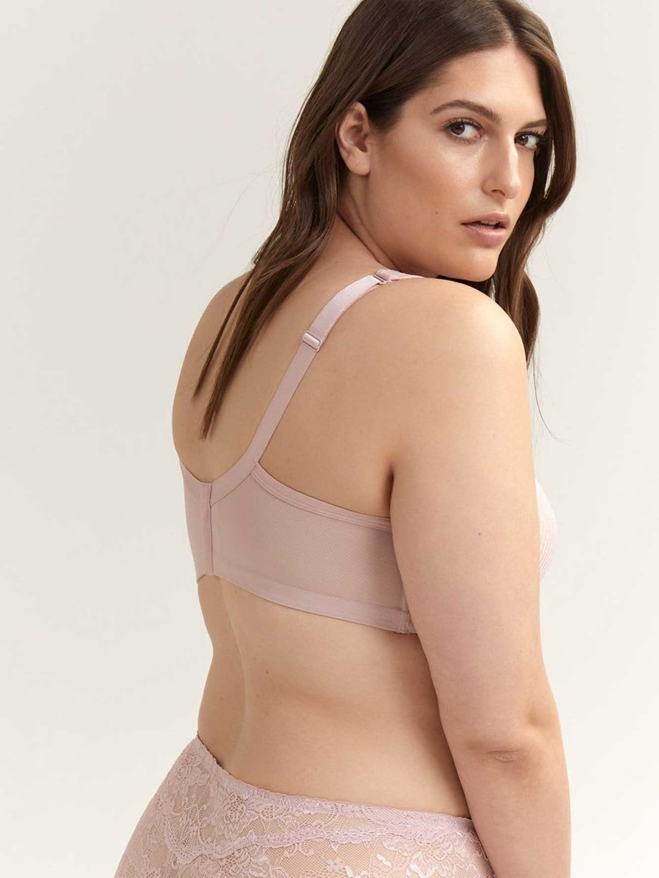 Jacquard Padded Wirefree Bra with Lace, G & H Cups - ti Voglio
