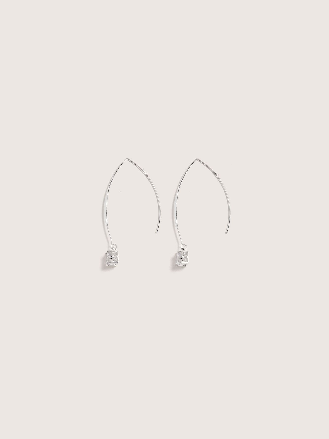Rhinestone Pendant Earrings - Addition Elle