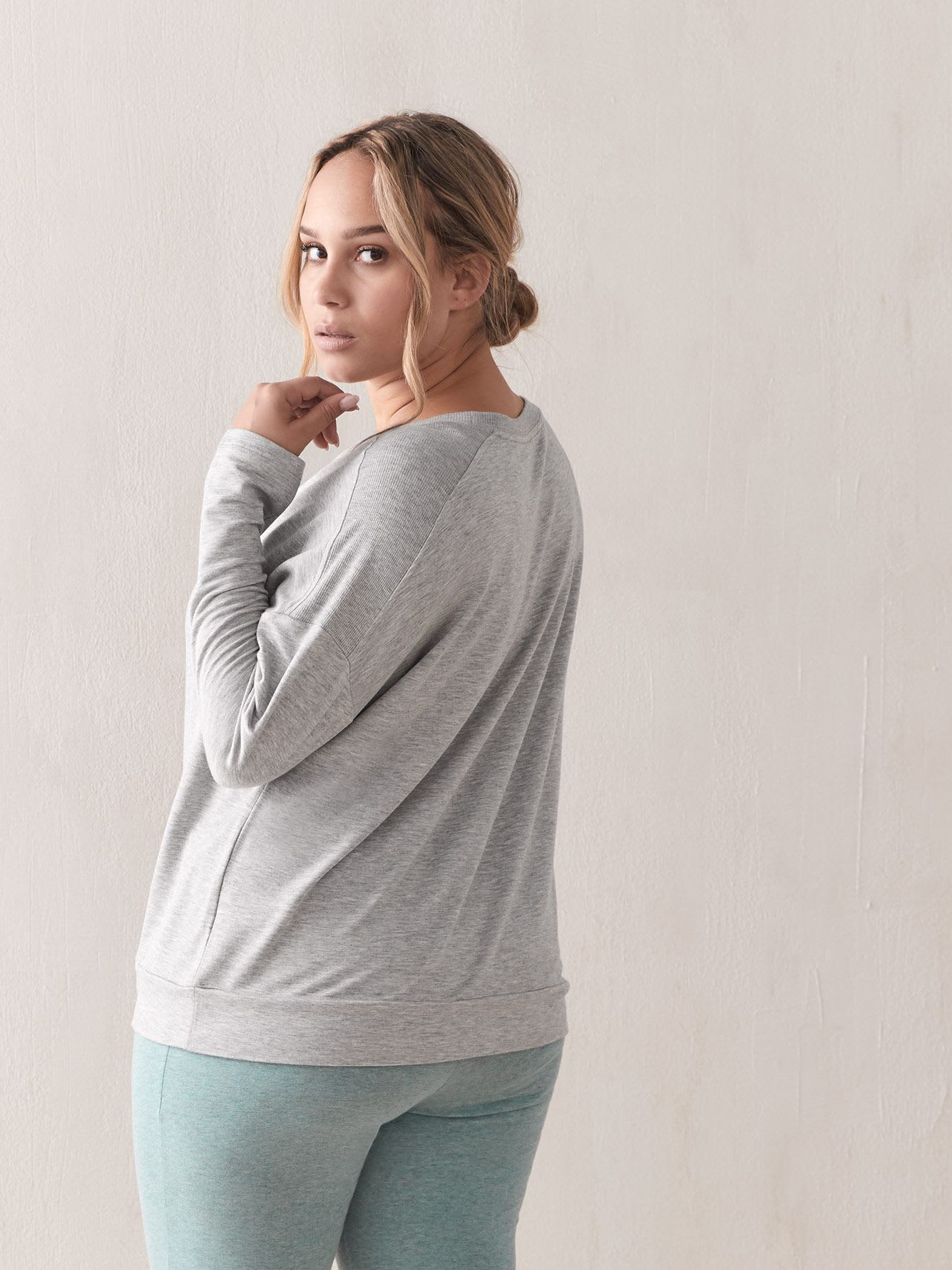 Solid French Terry PJ Tee with Rib Insert - Addition Elle
