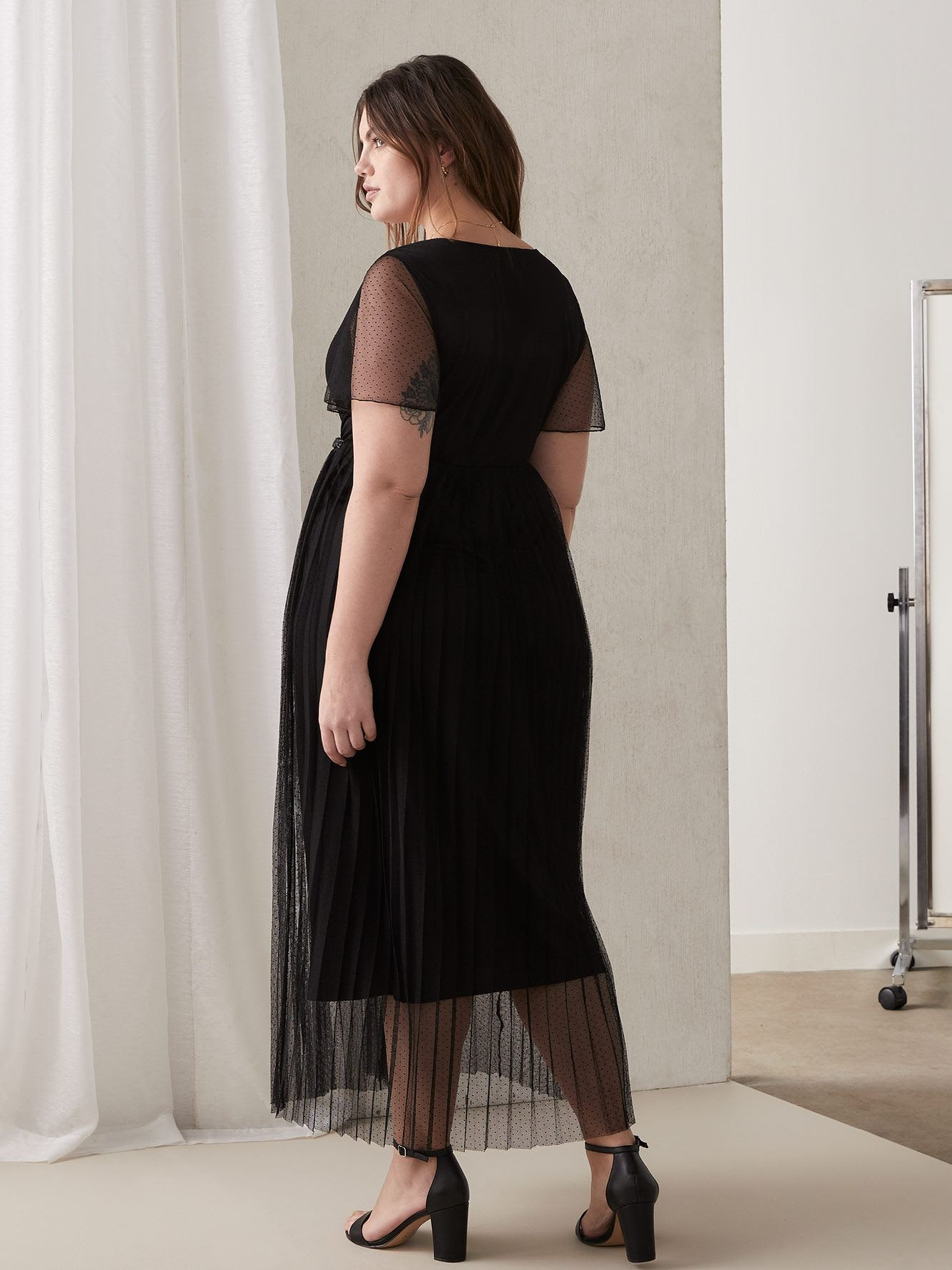 Black Maxi Mesh Dress with Pleated Skirt
