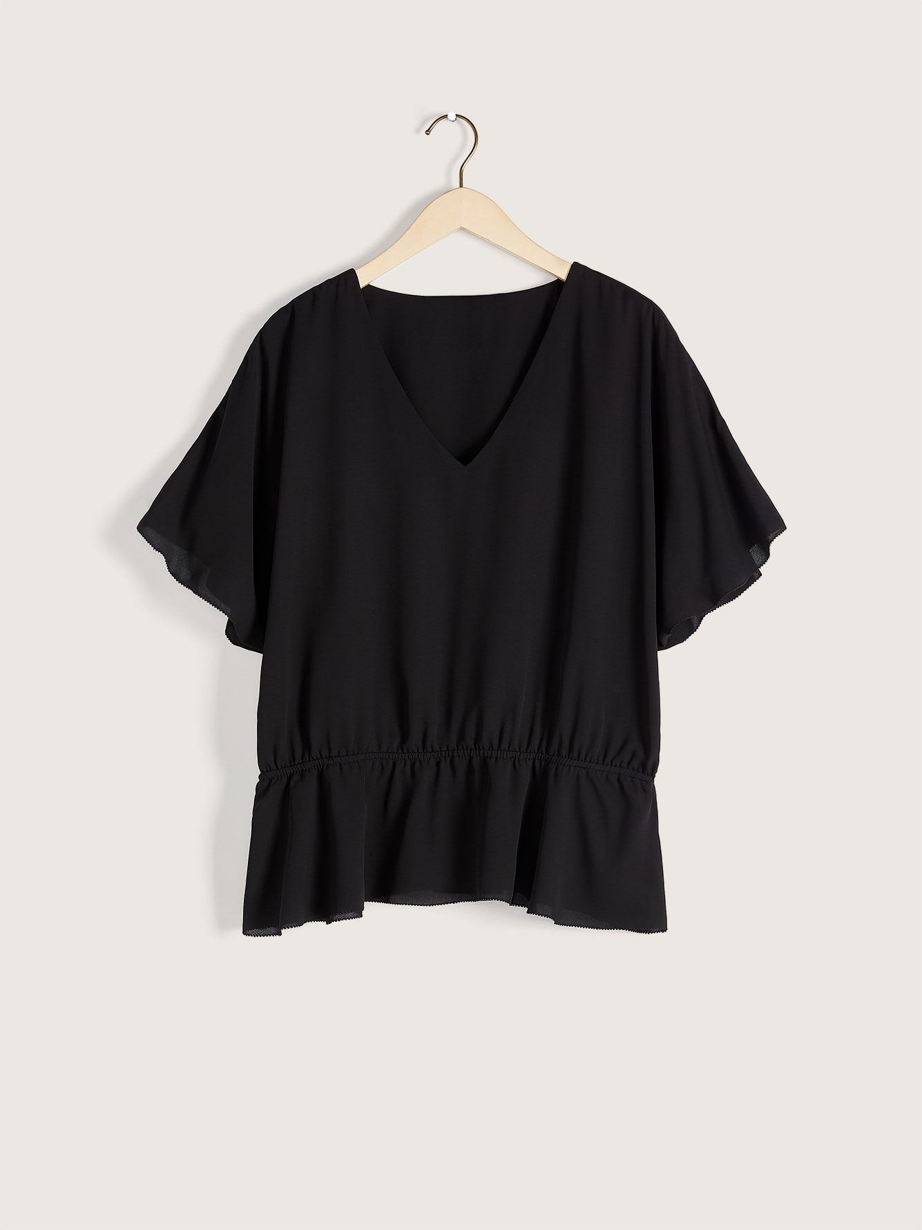 Flutter-Sleeve Peplum Blouse - Addition Elle