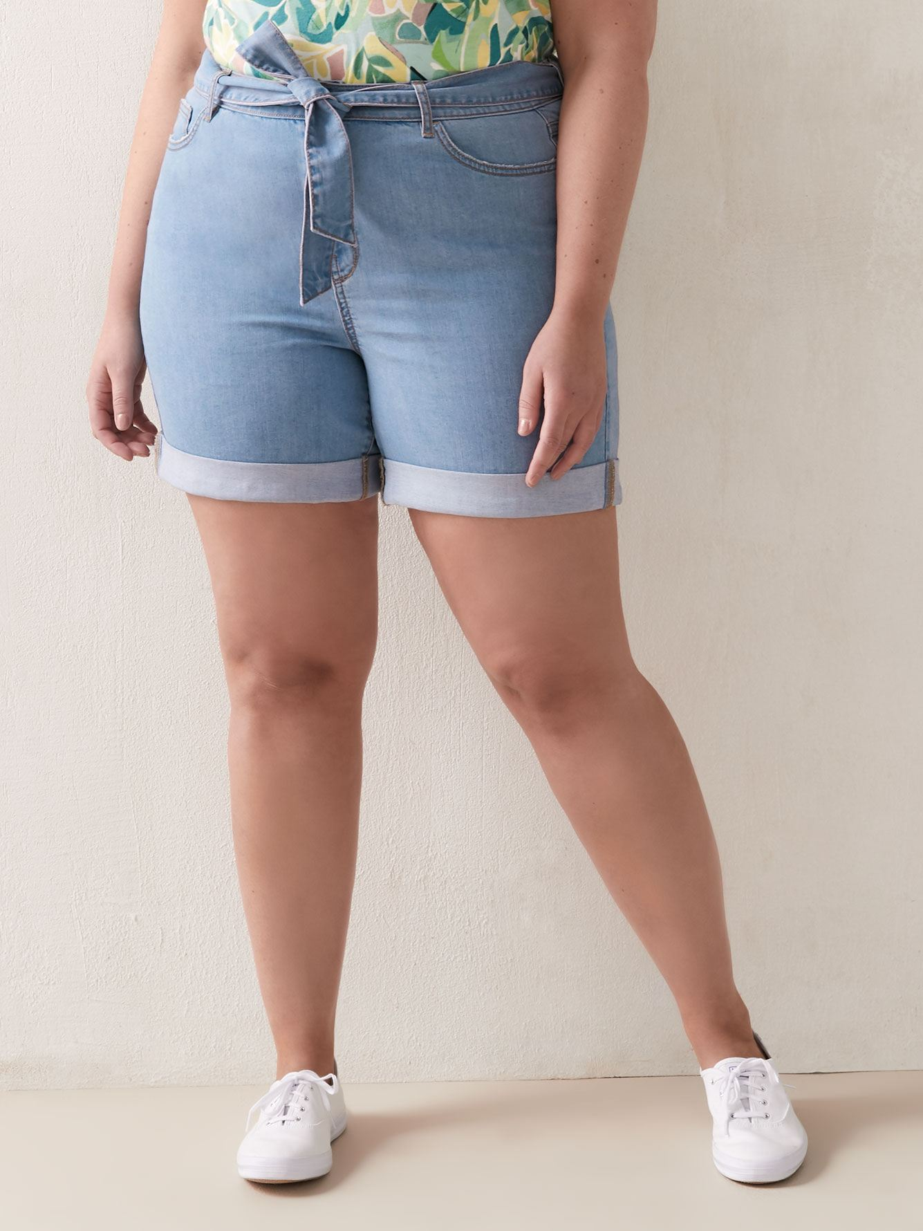 Belted Light Wash Denim Short - Addition Elle