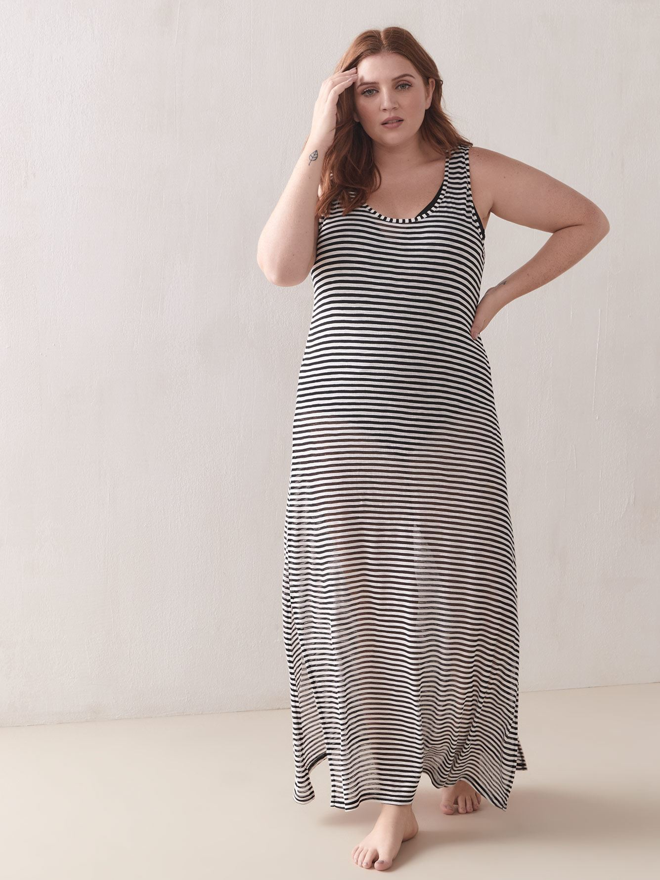 Striped Crew Neck Cover Up Maxi Dress - Cover Me