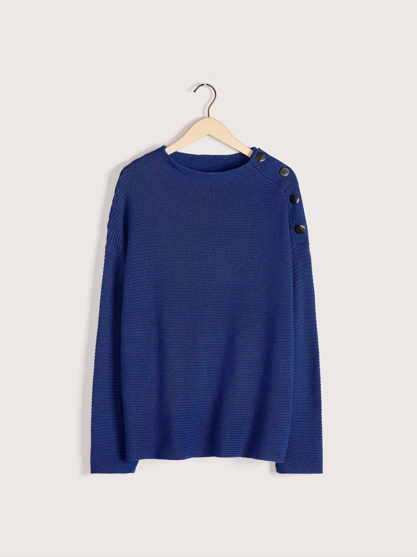 Boat-Neck Button Sweater - Addition Elle