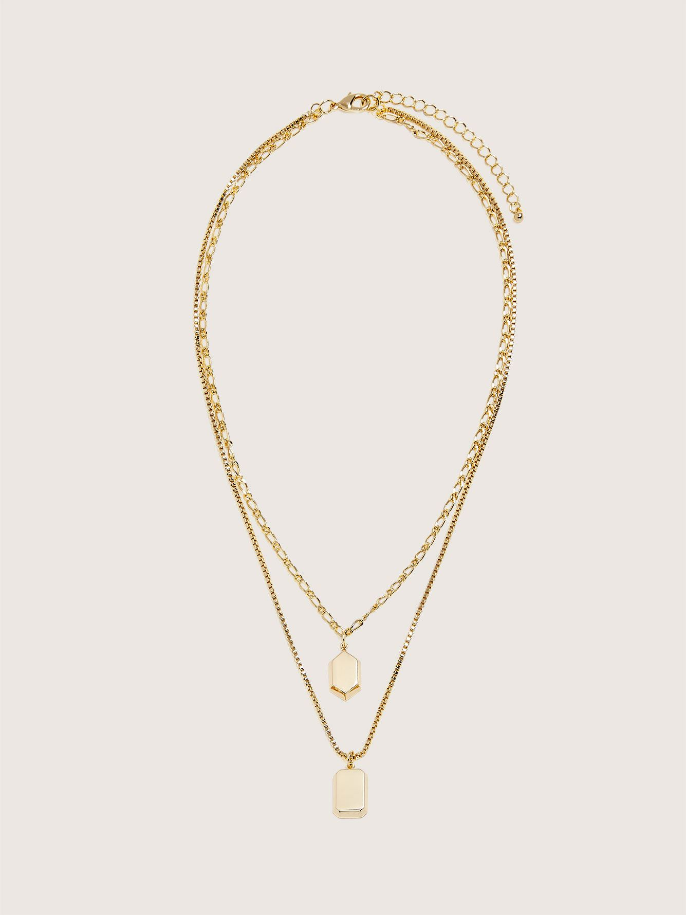 14K Plated Necklace with 2 Medallions - Addition Elle