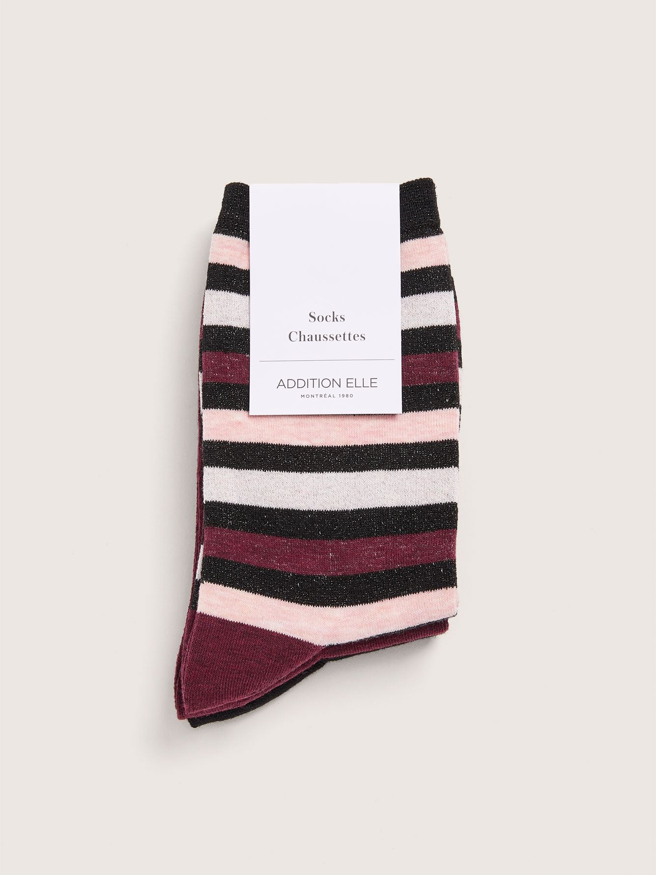 Wide Lurex Striped Socks, Pack of 3 - Addition Elle