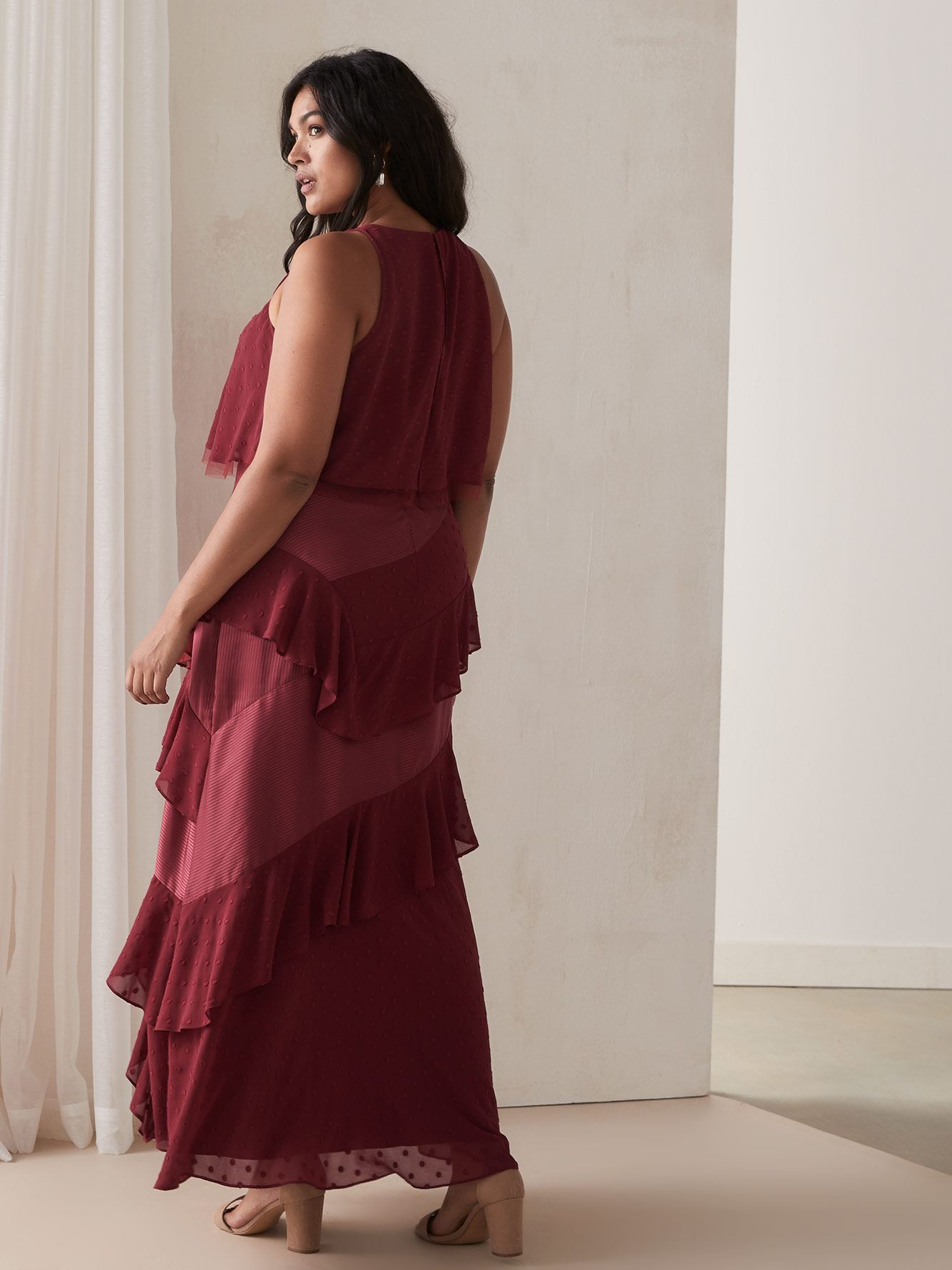 A-Line Maxi Dress with Asymmetrical Ruffles
