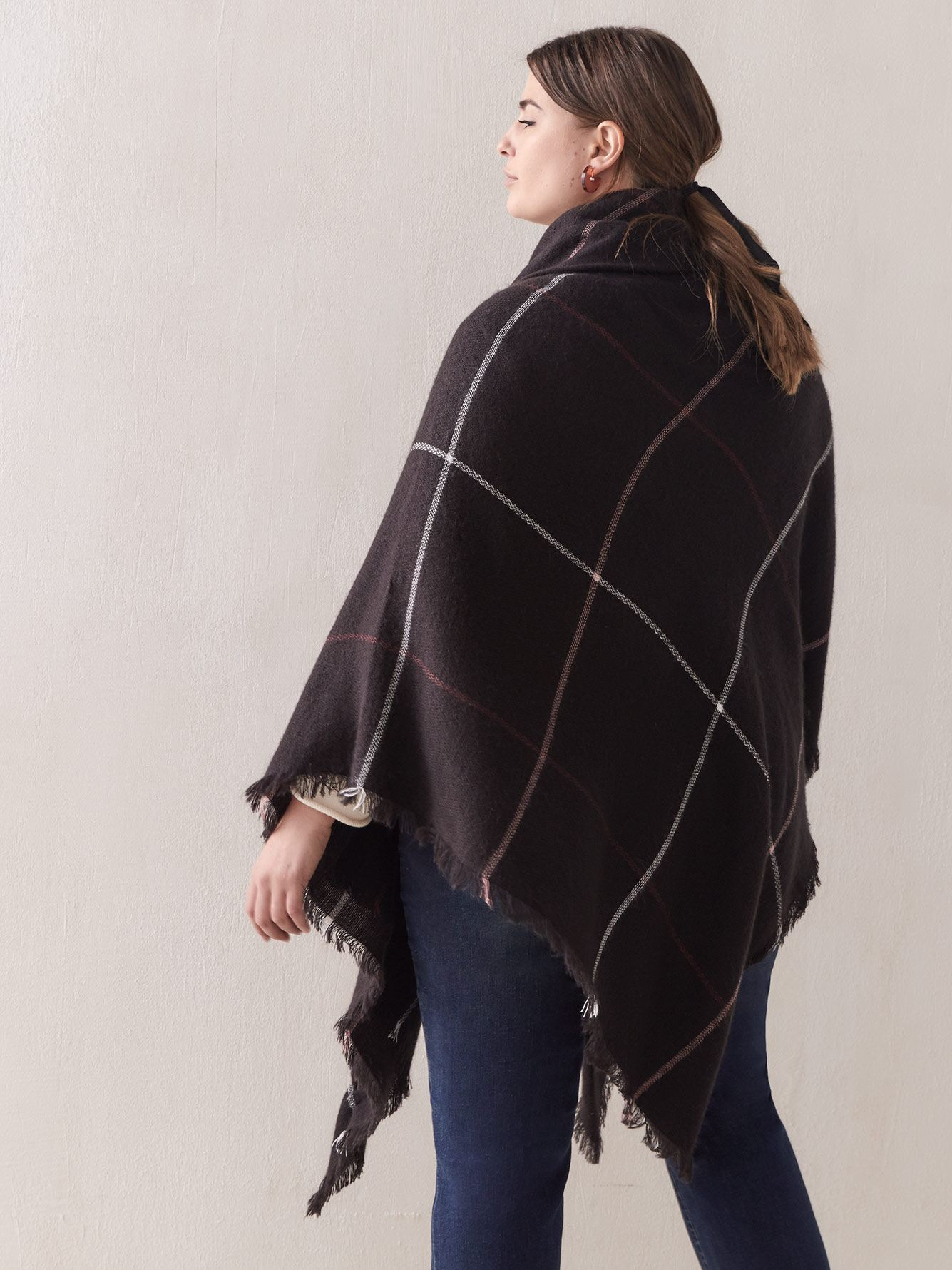 Plaid Cape with Front Closure - Addition Elle