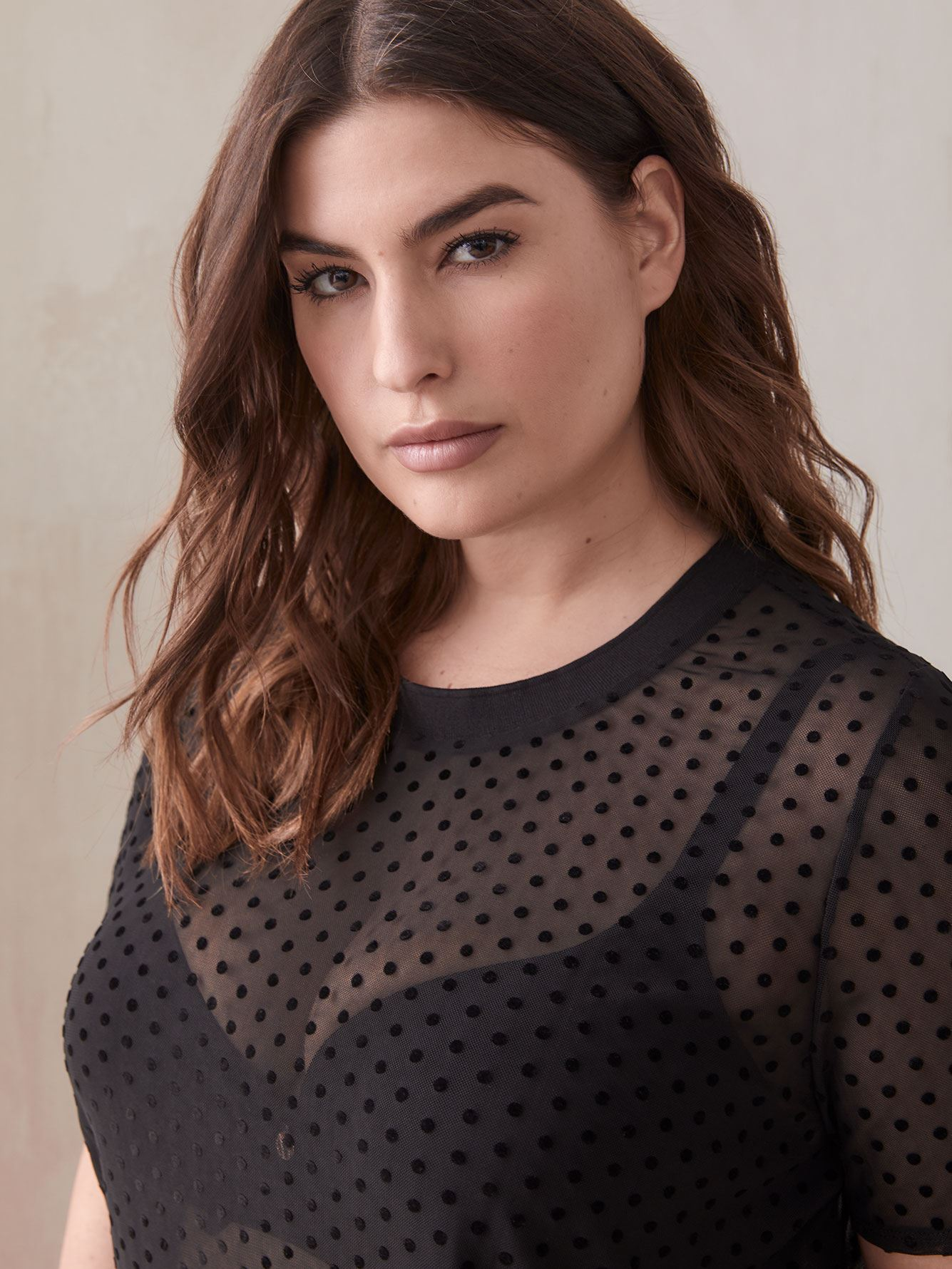 Dot Mesh Pajama Top - Ashley Graham